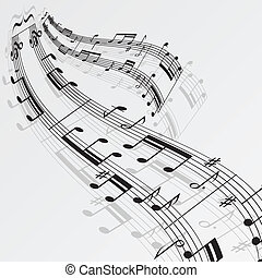 notas, música, plano de fondo, onda