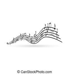 notas música, projete elemento