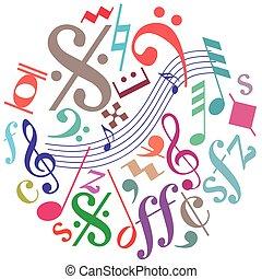 notas, música, quadro, redondo