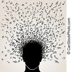 notas música, saída, de, cabeça, desenho