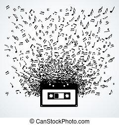 notas música, saída, de, um, cassete, isolado, desenho