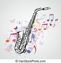 notas música, saxofone