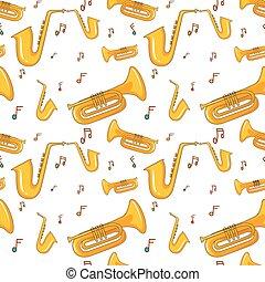 notas música, saxofone, seamless, fundo