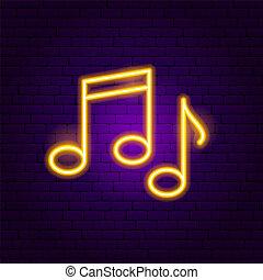 notas música, sinal néon