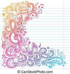 notas música, sketchy, doodles, clave g