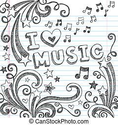 notas música, sketchy, doodles, vetorial