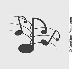 notas música, solide, fundo branco