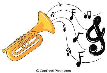 notas música, trompete, fundo