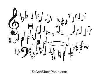 notas, música, (vector)