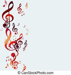notas, música, vermelho