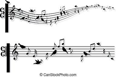 notas música, vetorial, pássaros