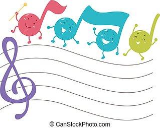 notas, março, musical, mascote