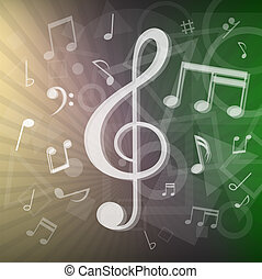 notas, modernos, música, fundo