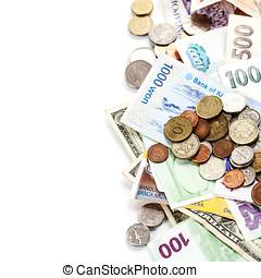 notas, moedas, estrangeiro