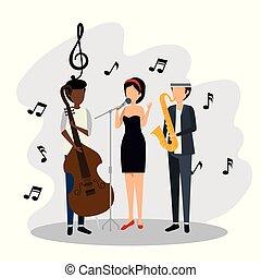 notas, mulher, música, homens, sinais