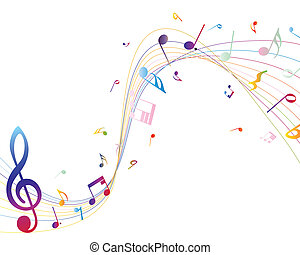 notas, multicolor, musical