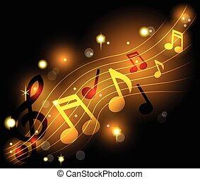 notas, musical, brillar
