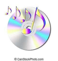 notas, musical, cd