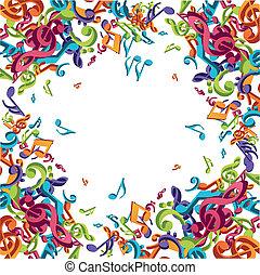 notas, musical, colorido
