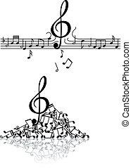 notas, musical, fundo, estragada