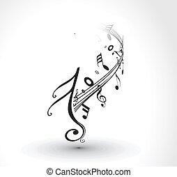 notas, musical, fundo
