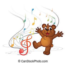 notas, musical, oso, bailando