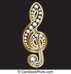 notas, musical, ouro, diamantes