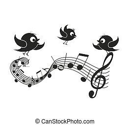 notas, musical, pássaros