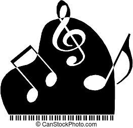 notas, musical, plano de fondo, personal