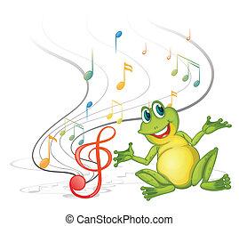 notas, musical, rana