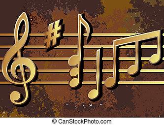 notas musicales, arreglado, en, un, oxidado, superficie