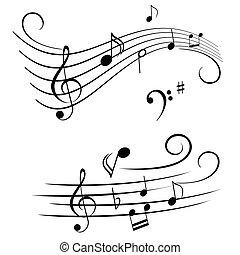 notas musicales, en, travesaño