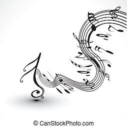 notas musicales, plano de fondo