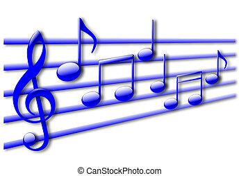 notas musicales, resumen, con, sombra