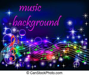 notas, néon, ibright, música, fundo, brilhante