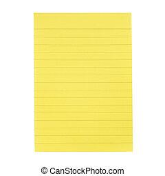 notas, papel, amarela