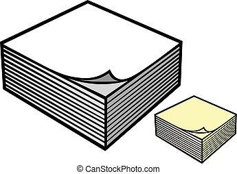 notas, papel, bloco