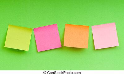 notas, papel, brillante, colorido, recordatorio