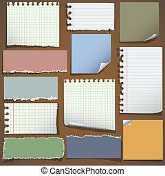 notas, papel, vário