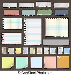 notas, papel, vario, colección