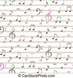 notas, pattern., seamless, vetorial, música, listra