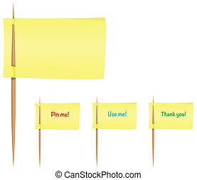 notas pegajosas, ligado, toothpicks