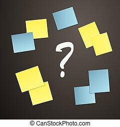 notas, pegajoso, marca pergunta