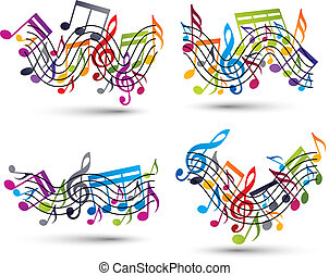 notas, pessoal, set., musical