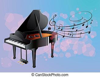 notas, piano, musical