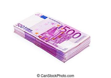 notas, pila, 500, eur