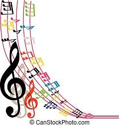 notas, plano de fondo, música, musical