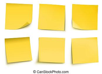 notas, poste, amarela, aquilo