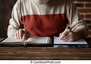 notas, santissimo, estudo, levando, bíblia