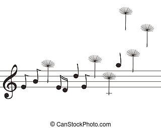 notas, sementes, música, dandelion